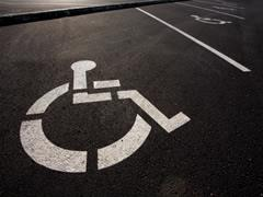 Stencilled parking space for people with a disability