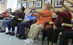 Image of seniors doing exercise together.