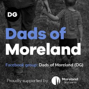 "Man holding boy's hand, text ""Dads of moreland"""