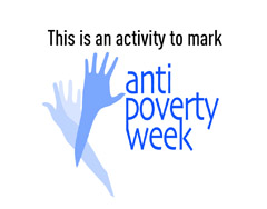 Logo for Anti-Povery week showing three blue hands crossing over each other