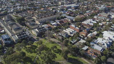 Aerial view of residential houses