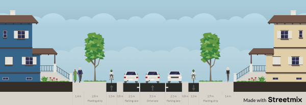 Proposed DeCarle Street layout Rennie to The Avenue - shows physically separated bicycle lanes