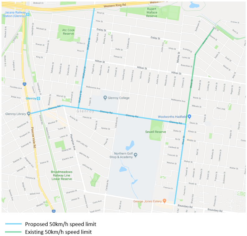 Map of Propsed 50kmh Speed Limit - Glenroy Road - Widford Street - West Street
