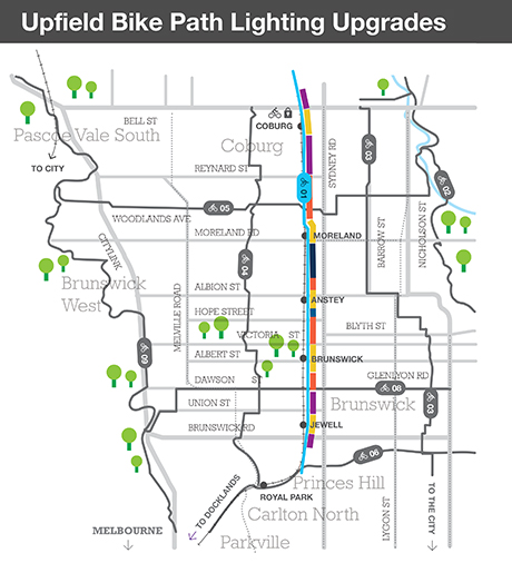 Map of Upfield bike path lighting upgrades