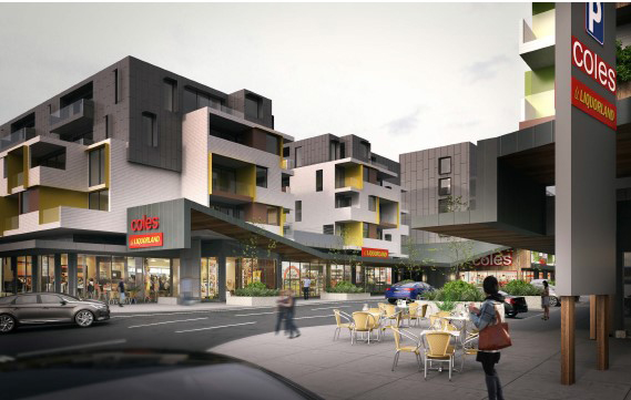 Artist Impression of 'Main Street' within core of East Brunswick Village  (Source: Jam Architects 29 September 2016)
