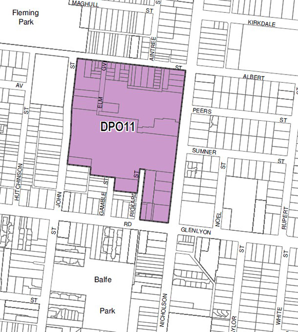 Map of area affected by DPO11  (Source: Moreland Planning Scheme)