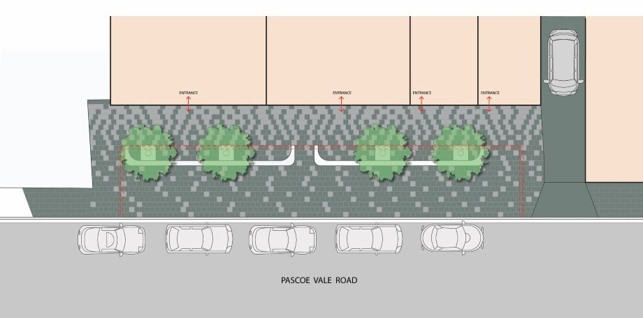 Glenroy - Pascoe Vale Road Streetscape Improvements - Stage 4B - Pedestrian Plaza illustration