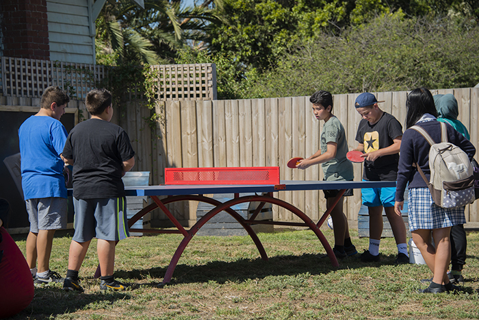 Playing table tennis at Oxygen first birthday
