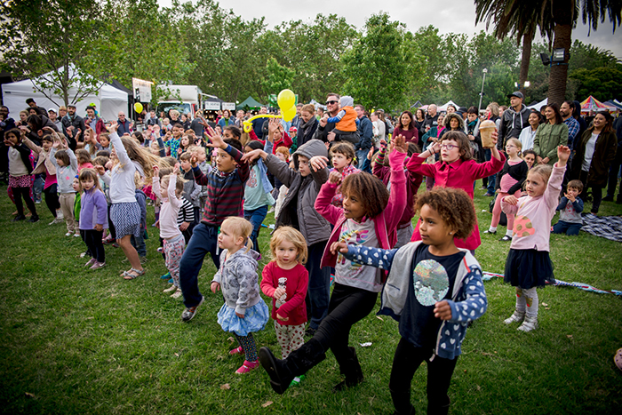 Crowd getting involved in the festivities at the Coburg Night Market 2016