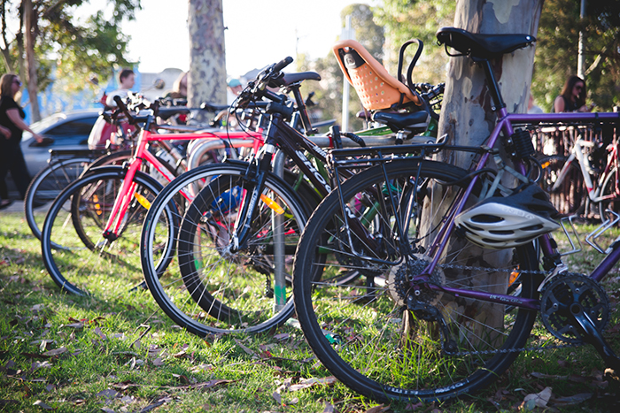 Bicycles parked at the Coburg Night Market 2016