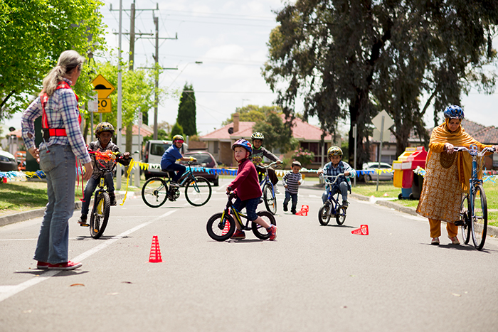 Bike lessons at Fawkner Festa