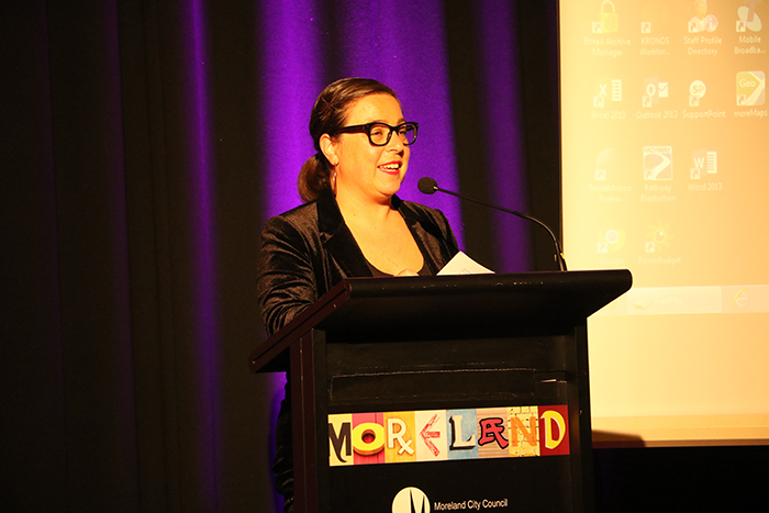 Moreland City Council Arts and Culture Unit Manager, Emanuela Savini, speaking at the Where have we come to? project launch