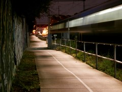 Upfield bike path LED lighting at night
